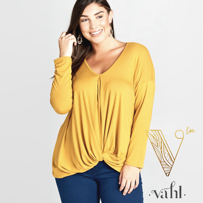 Plus Solid Jersey Draped Top : 3XL