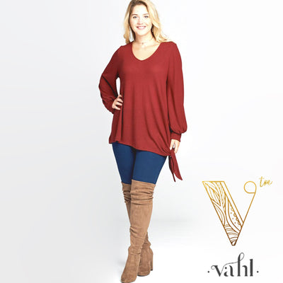 Casual Hacci Brush Top with Side Tie : Small | VAHL