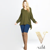 Plus Casual Hacci Brush Top with Side Tie : 3XL | VAHL