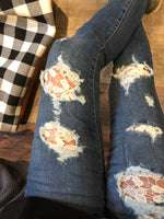 Judy Blue Distressed Lace Patch Denim