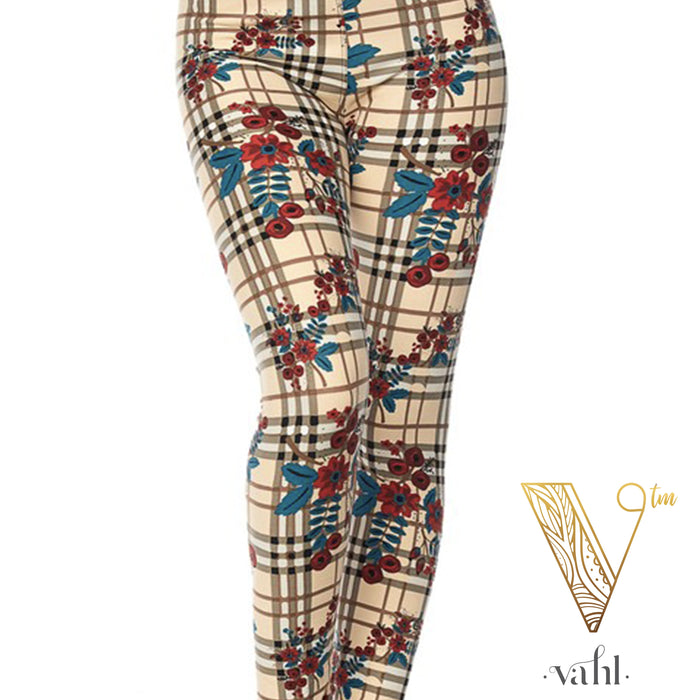 Misses Plaid Leggings : Floral Plaid | VAHL