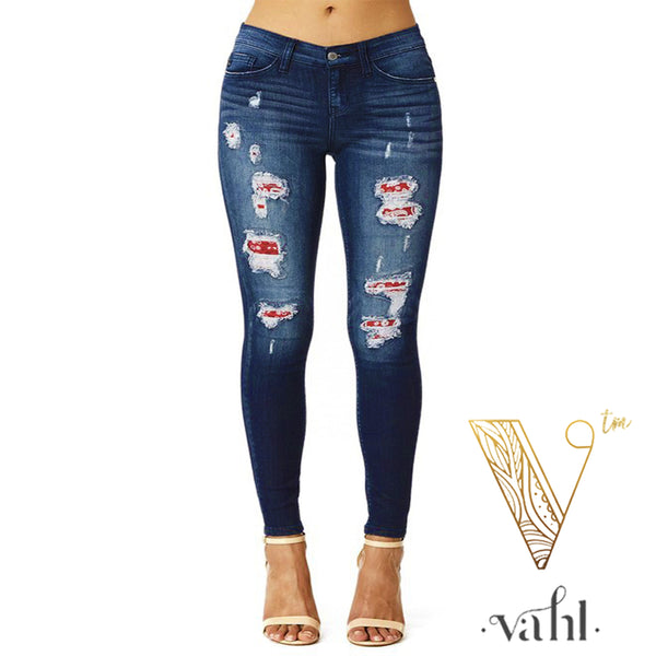 Judy Blue Distressed Bandana Denim : Size 3 | VAHL