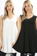 Plus V-Neck Round Hem Sleeveless Tunic