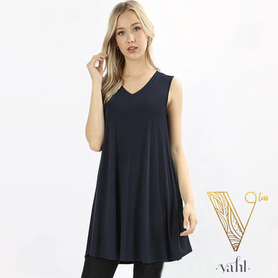 V-Neck Round Hem Sleeveless Tunic