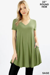 Short Sleeve V-Neck Tunic with Pockets