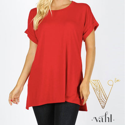 Rolled Sleeve Round Neck Tunic : Medium