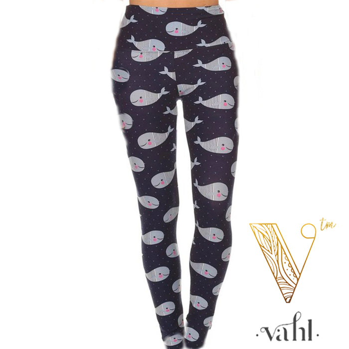 Misses & Plus Wide Band Whale Leggings : Sully | VAHL | VAHL