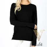 Round Neck Sweater with Button Sleeve : Large | VAHL