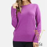 Round Neck Sweater with Button Sleeve : Large