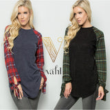Sweater Tunic with Plaid Tie Sleeves : Small