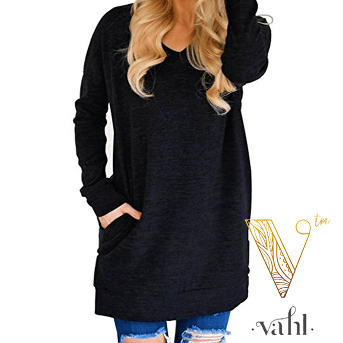 V-Neck Solid Tunic with Pockets Pre-Order