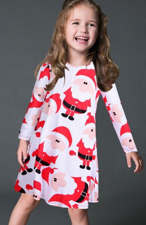 Girl's Holiday Tunic Dress - Santa | VAHL