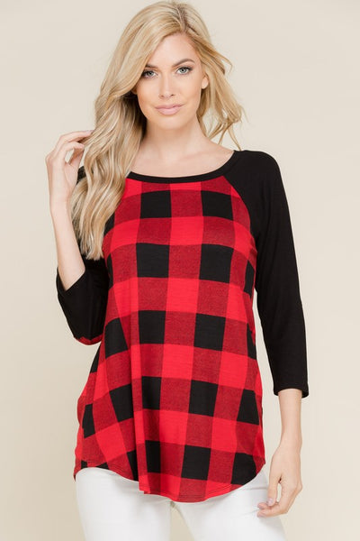 Plaid Heart Tunic Top : Small