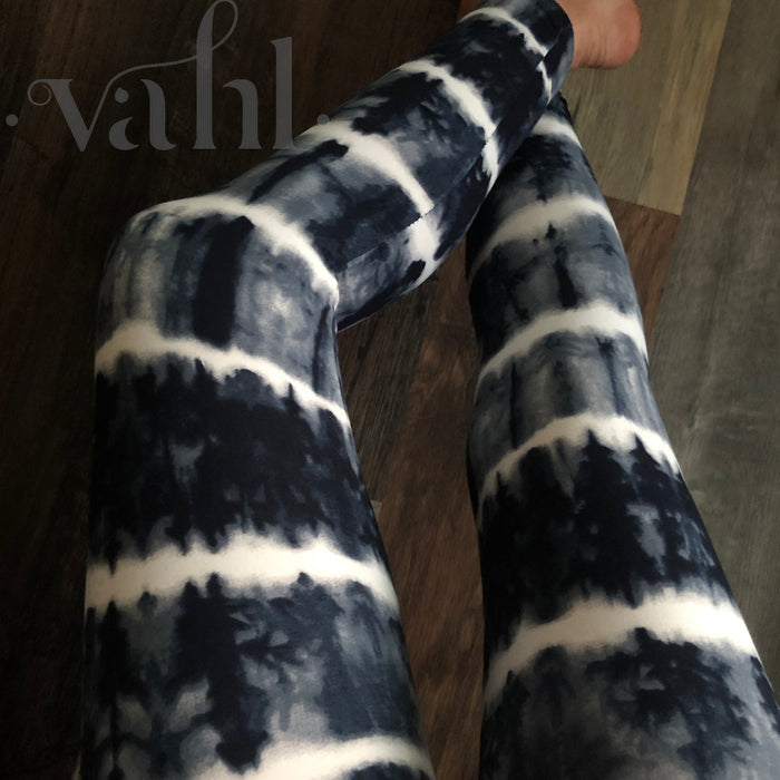 Plus Tie Dye Leggings - Wide Band : Acid Wash Licorice