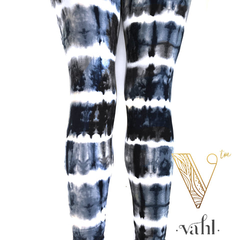 Plus Tie Dye Leggings - Wide Band : Black Licorice | VAHL
