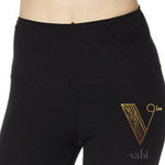 Plus Solid Black Capri Leggings - Wide Band | VAHL