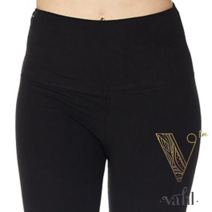 Misses Solid Black Leggings - Wide Band