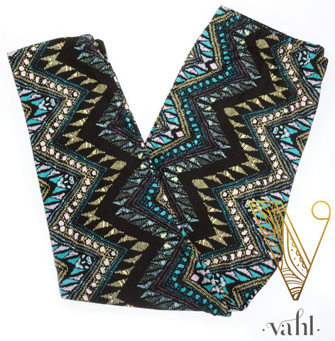 Misses Buttery Capri Leggings: Blue Vertical Egyptian