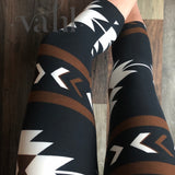 Misses Aztec  Capri Leggings: Classic Aztec Brown | VAHL