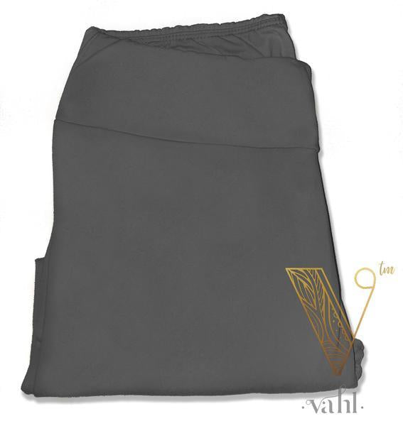 Plus Solid Grey Leggings - Wide Band : Charcoal | VAHL