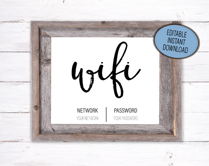 Wifi Password Printable - Editable Personalized