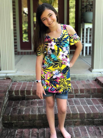 Kid's Multi Color Cold Shoulder Tunic : Small | VAHL