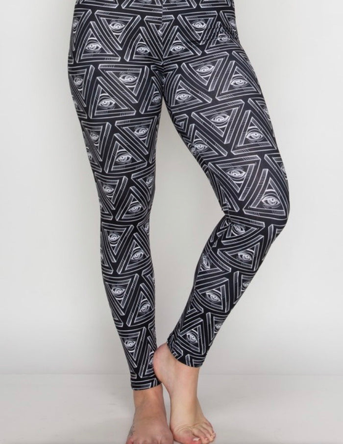 Plus Peach Skin Leggings : Black Geo