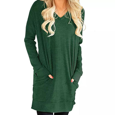 V-Neck Solid Tunic with Pockets