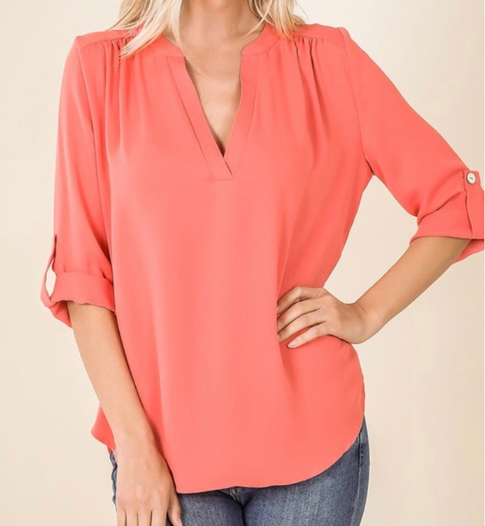 Plus V Neck Button Sleeve Top