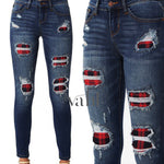 (All Sizes) JB Distressed Plaid Patched Skinny | VAHL