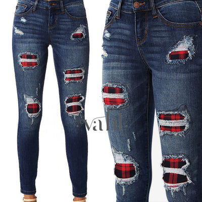 Judy Blue Distressed Plaid Patched Skinny | VAHL