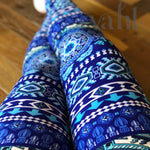 Plus Blue Aztec Leggings: Justice