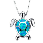 Opal Turtle Pendant Necklace