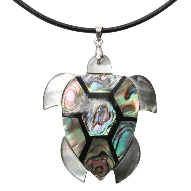 925 Sterling Silver Abalone Shell Turtle Necklace