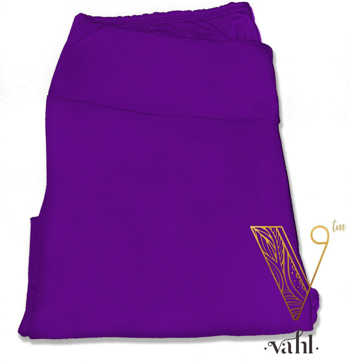 Plus Solid Purple Leggings - Yoga Band | Vahl