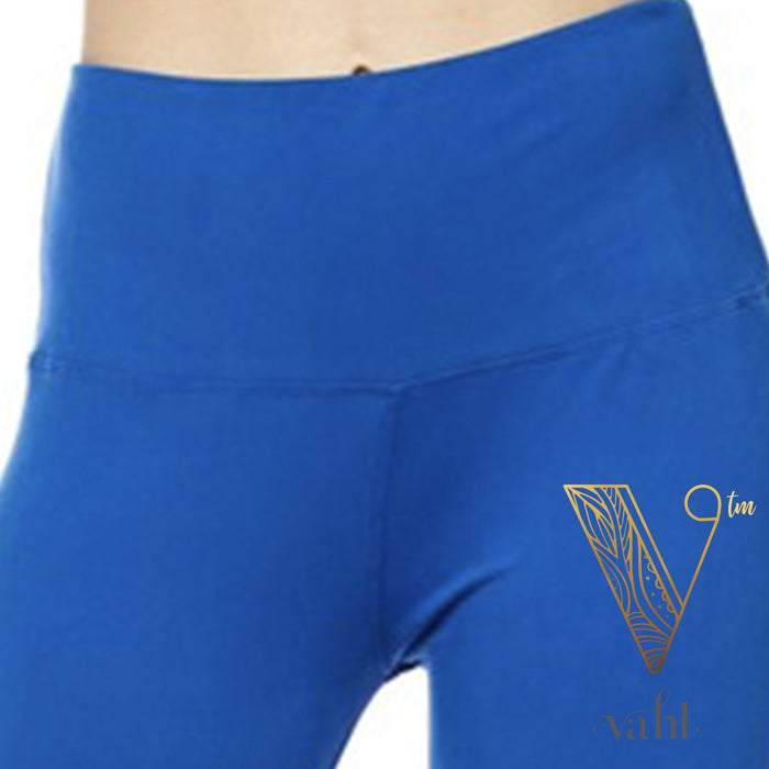 Plus Solid Blue Leggings - Wide Band : Royal