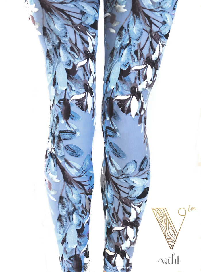 Blue Printed Floral Leggings With Plum and Navy Beautiful | VAHL