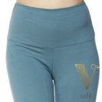 Plus Solid Blue Leggings - Wide Band : Sea Blue