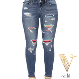 Judy Blue Serape Patched Distressed Skinny | VAHL