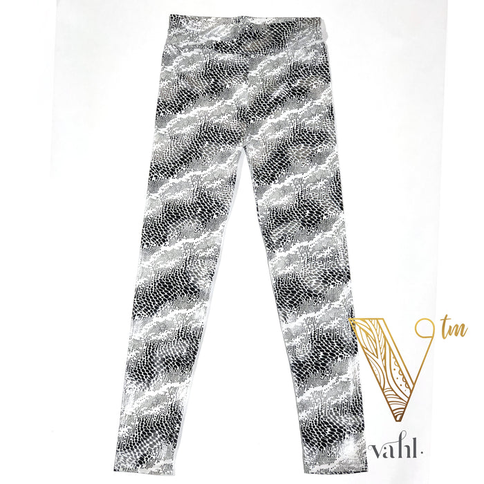 Metallic Snakeskin Yoga Band Workout Leggings