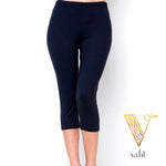 3X/5X Solid Navy Leggings : Capri | VAHL
