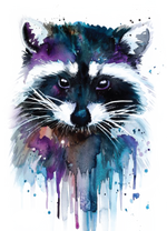 Watercolor Raccoon Digital Download
