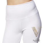 Misses Solid White Leggings -  Wide Band