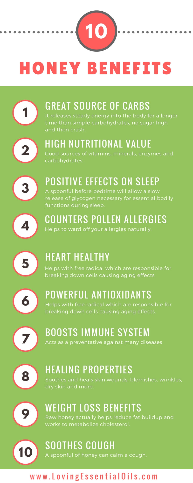 top 10 natural honey benefits for beauty, health and wellness by Loving Essential Oils