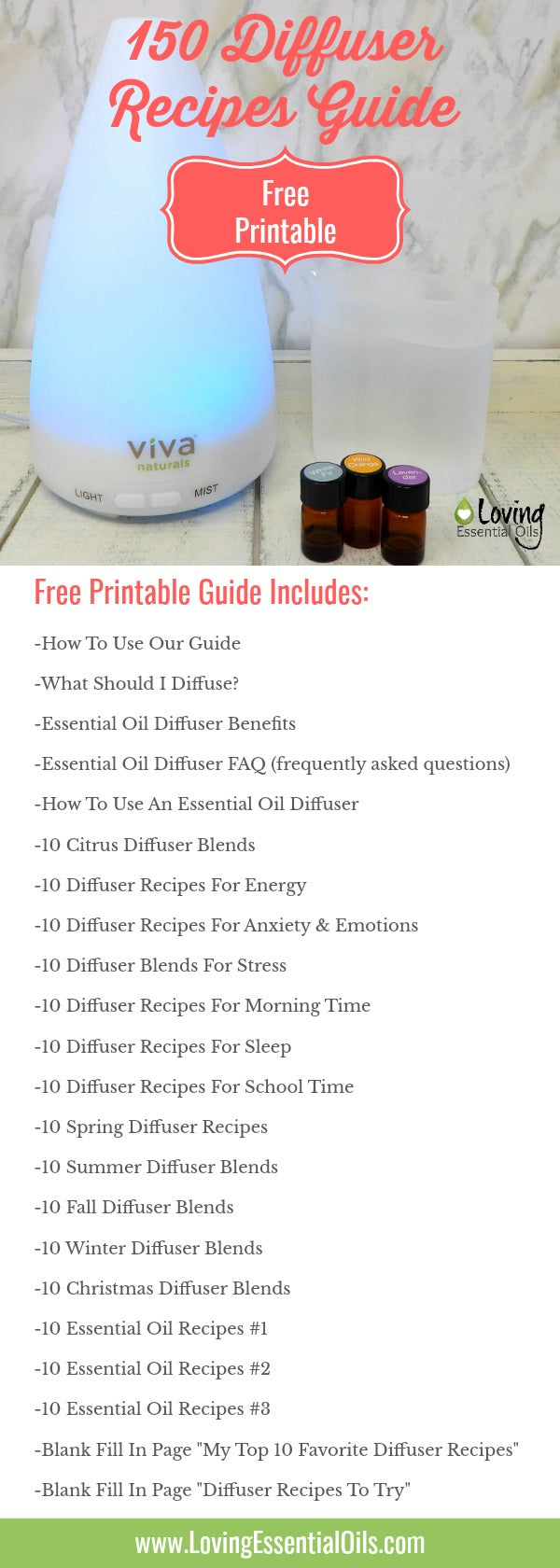 150 Free Printable Essential OIl Diffuser Blends Recipe Guide