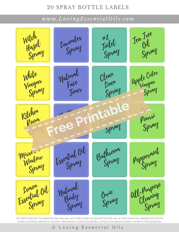20 Spray Bottle Labels For 1oz and 2oz glass bottles
