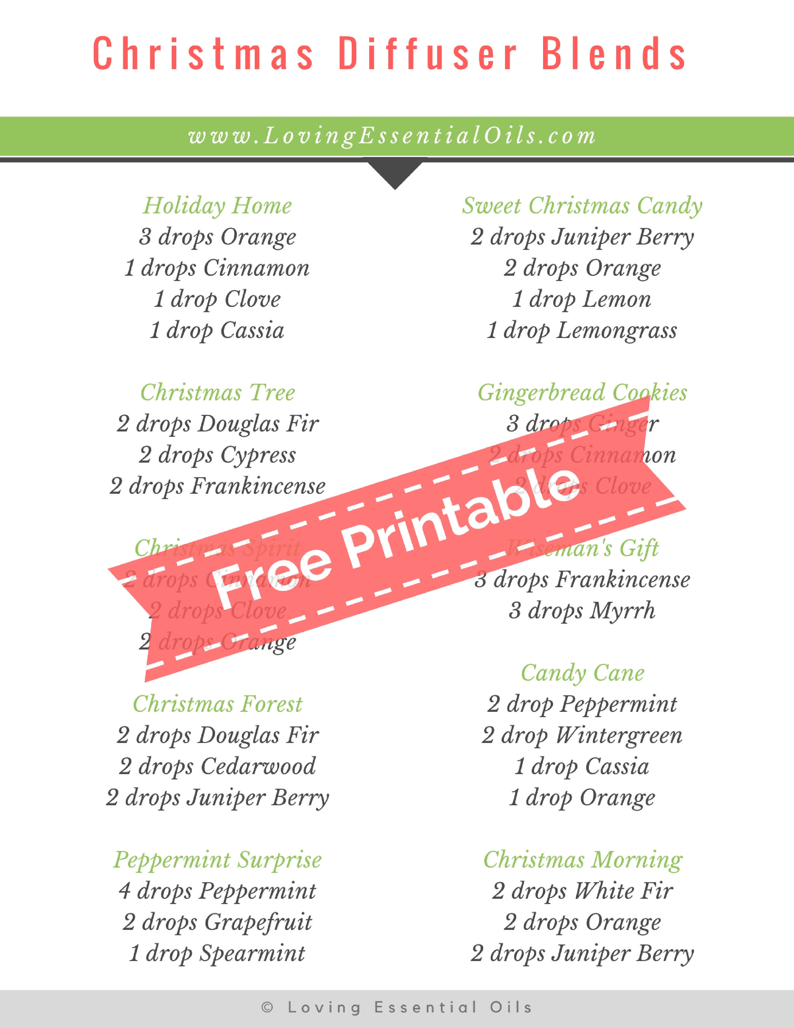 10 christmas diffuser blends free printable guide