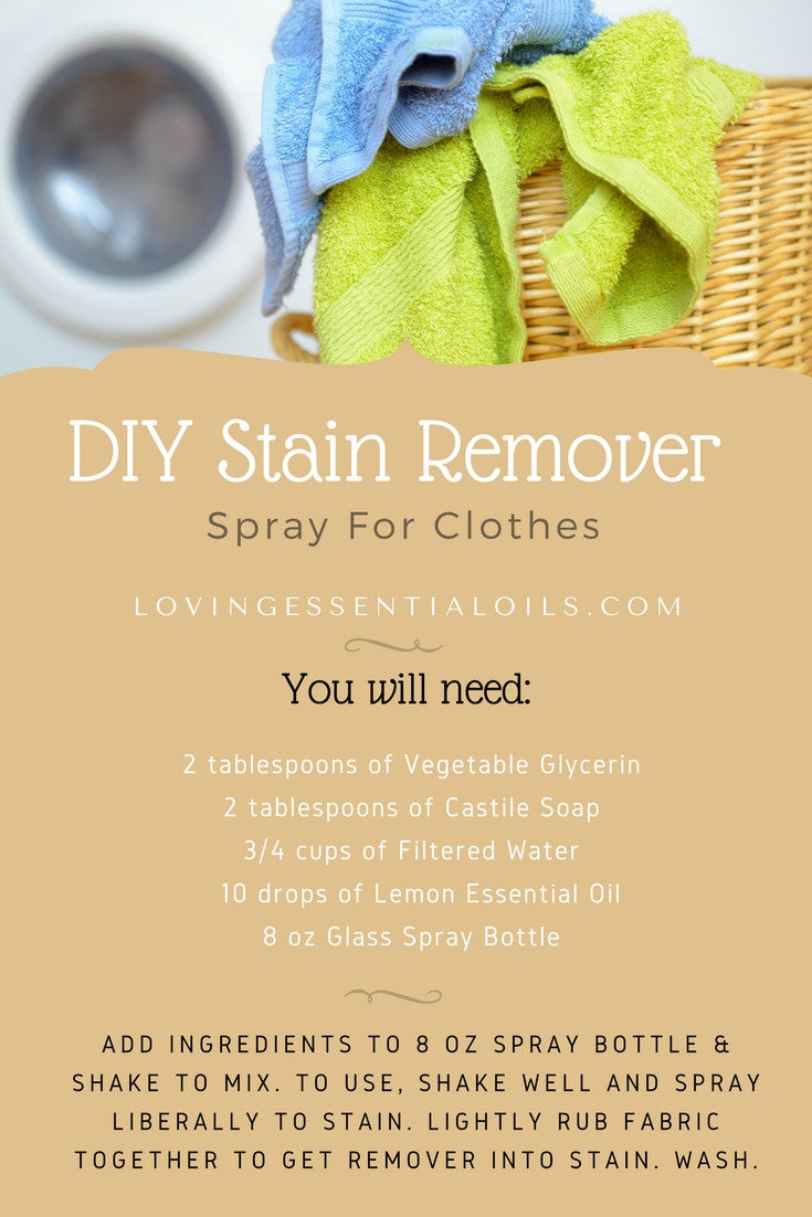 DIY Stain Remover Spray For Clothes With Lemon Essential Oils