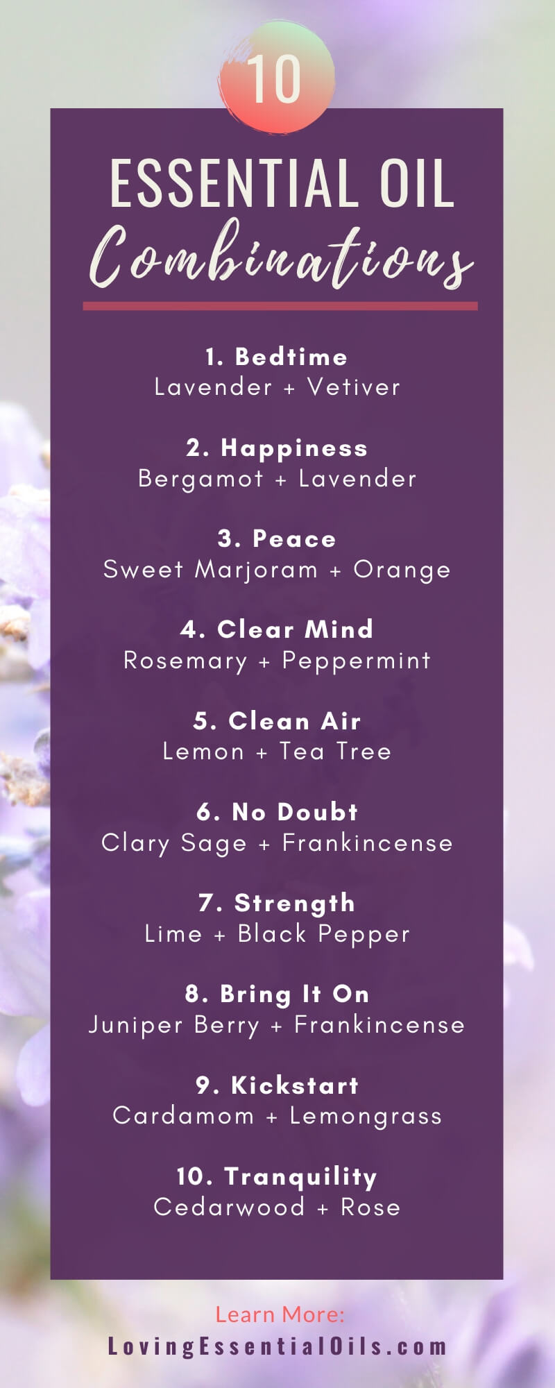 20 Simple Essential Oil Combinations For Diffuser by Loving Essential Oils | Pinterest Infographic