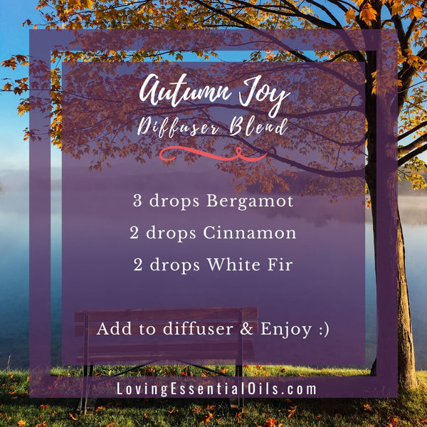 10 Fall Diffuser Recipes - Wonderful Autumn Scents of the Season! by Loving Essential Oils | Autumn Joy with bergamot, cinnamon, white fir
